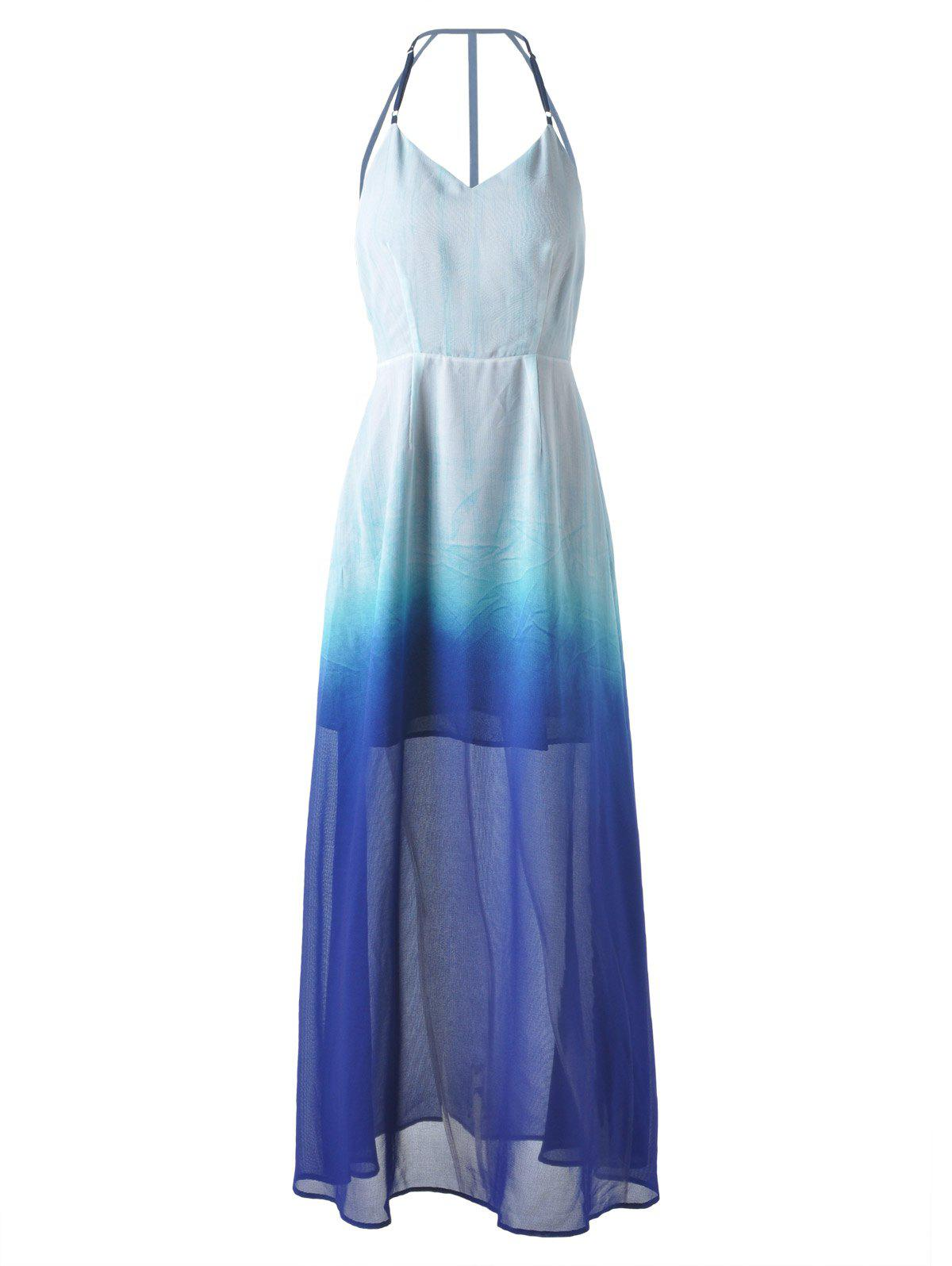 Long Ombre Backless Slip Prom Dress DRESSFO