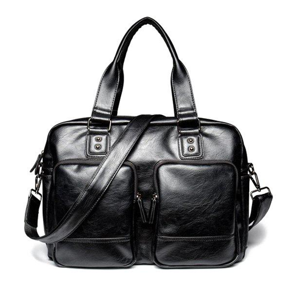 Outfits Casual Black Color and Zip Design Briefcase For Men