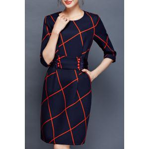 Plaid Bow Back Sheath Dress