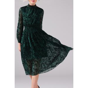 Mock Neck Peacock Graphic Long Sleeve Dress