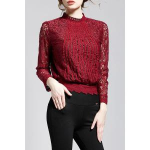 Stand Collar Lace Long Sleeve Top