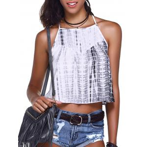 Tie Dye Camisole Tank Top - Grey And White - Xl