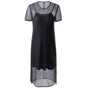 Fashionable Short Sleeves Round Collar Cut-Out Two-Piece Dress For Women - Black - S