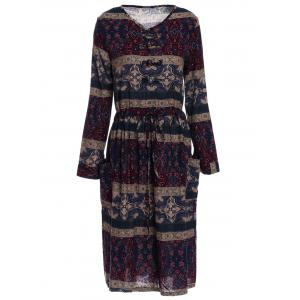 Long Sleeve Retro Print A Line Dress