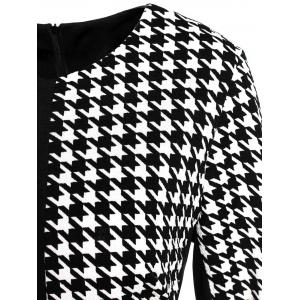 Work Houndstooth Zippered Fitted Pencil Dress -