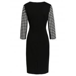 Houndstooth Zippered Bodycon Dress - WHITE/BLACK XL