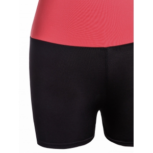 Active Style Elastic Waist Skinny Color Block Women's Yoga Shorts -