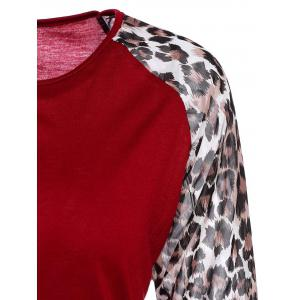 Chic Round Neck Leopard Splicing Long Sleeve T-Shirt For Women -