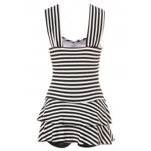 Trendy Sweetheart Neckline Striped One-Piece Swimsuit For Women - WHITE/BLACK L