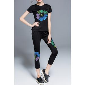 Floral Print Top and Pants Twinset -