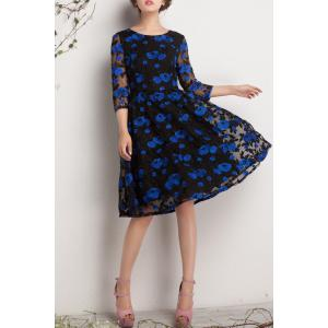 Floral Embroidered Gauzy Dress -