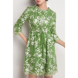 Floral Embroidered A LineDress -
