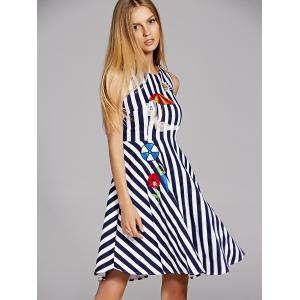 Sleeveless Embroidered Stripe A Line Dress -