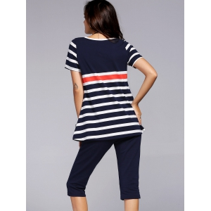 Stylish Scoop Neck Striped Tee and Capri Pants Set For Women -