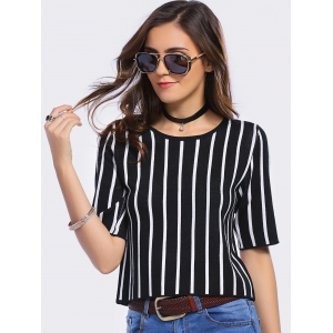 Stylish Jewel Neck Striped 1/2 Sleeve T-Shirt Dress For Women -