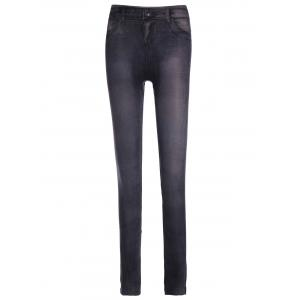 Fashionable Low-Waisted Chambray Women's Skinny Pants