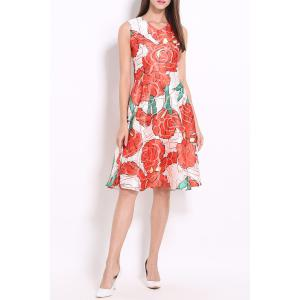 V Neck Floral Print Sundress -