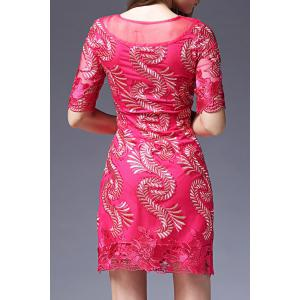 Embroidered Mesh Splicing Dress -