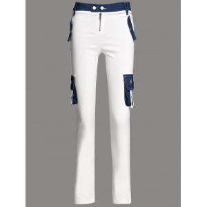 Stylish Low-Waisted Denim Spliced Pocket Design Cargo Pants
