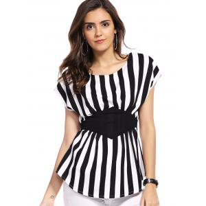 Fashionable Scoop Neck Dolman Sleeve Striped Blouse For Women -
