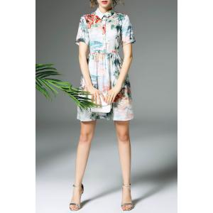 Short Sleeve Printed Shirt Dress -