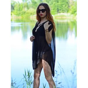 V-Neck Sexy sans manches See-Through solide Cover-Up Femmes Couleur - Noir M