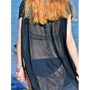 V-Neck Sexy sans manches See-Through solide Cover-Up Femmes Couleur - Noir L