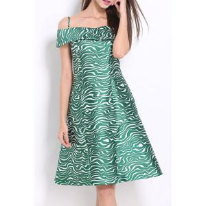 Zigzag Print Cold Shoulder Dress -