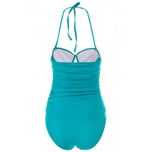 Charming Halter Sleeveless Hollow Out Solid Color Women's Swimwear - GREEN M