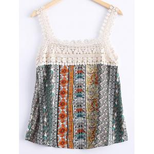 Stylish Lace Openwork Printing Tank Top For Women -