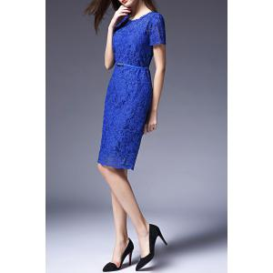 Pure Color Lace Sheath Dress -