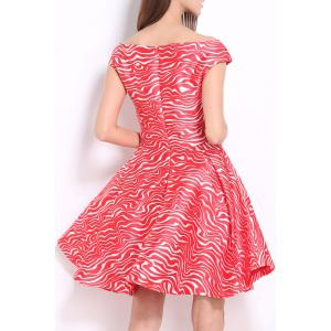 Slash Neck Zigzag Dress -