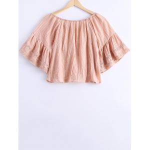 Simple Off The Shoulder Tassel Tie Short Sleeves Blouse For Women -