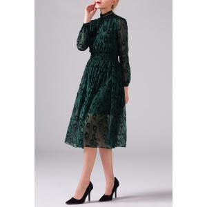 Mock Neck Peacock Graphic Long Sleeve Dress - GREEN XL