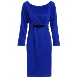 Long Sleeve Cut Out Zipper Back Sheath Dress