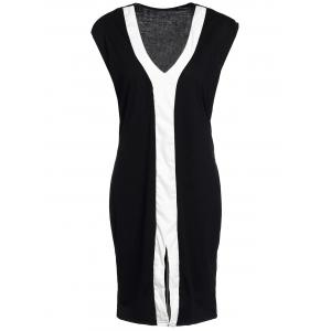 Plunging Neck Color Block Plus Size Fitted Dress - WHITE/BLACK XL