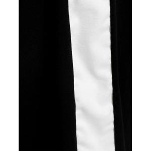 Plunging Neck Color Block Plus Size Fitted Dress - WHITE AND BLACK XL