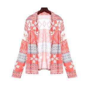 Stylish Turn-Down Collar Long Sleeve Printed Pocket Design Women's Cardigan - Pink - Xl