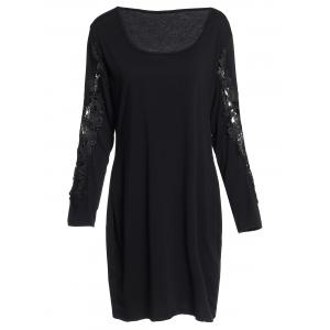Sexy Scoop Neck Long Sleeve Hollow Out Plus Size Women's Dress