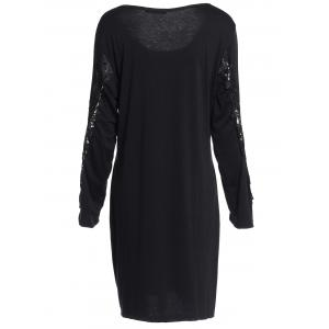 Sexy Scoop Neck Long Sleeve Hollow Out Plus Size Women's Dress - BLACK 3XL
