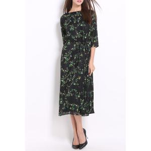 Ruched Midi Floral Dress -