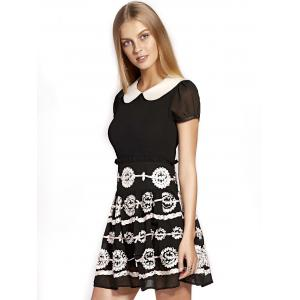 Cute Peter Pan Collar Flower Design Puff Sleeve Mini Dress For Women -