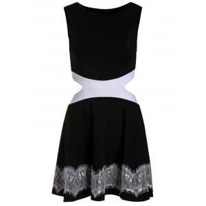 Sweet Sleeveless Waist Hollow Out Lace Spliced Mini Dress For Women -