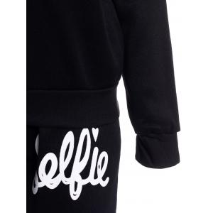 Stylish Hooded Letter Printed Hoodie and Elastic Waist Pants Twinset For Women -