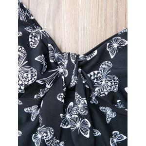 Stylish Butterfly Print Plus Size Two-Piece Swimsuit For Women - BLACK 8XL