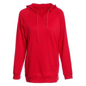 Trendy Hooded Long Sleeve Solid Color Pocket Design Women's Hoodie