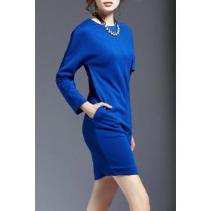 Solid Color Mini Long Sleeve Dress -