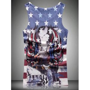 Round Neck Star and Stripe Eagle 3D Print Tank Top For Men -