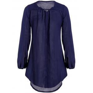 Casual Style V-Neck Long Sleeve Zip Up Solid Color Loose-Fitting Women's Dress - PURPLISH BLUE S