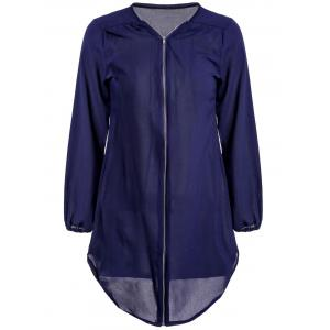 Casual Style V-Neck Long Sleeve Zip Up Solid Color Loose-Fitting Women's Dress - Purplish Blue - Xl